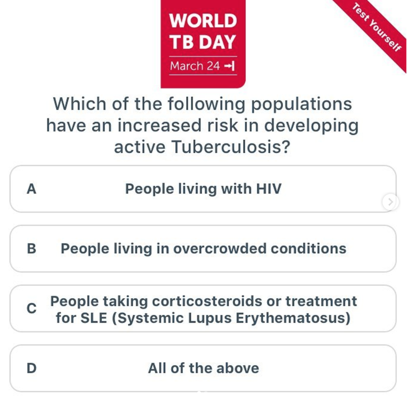 Drop your answer in comments. It's Time to End Tuberculosis!