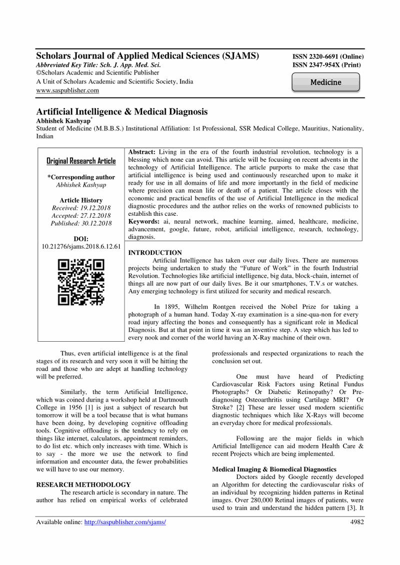 (PDF) Artificial Intelligence & Medical Diagnosis