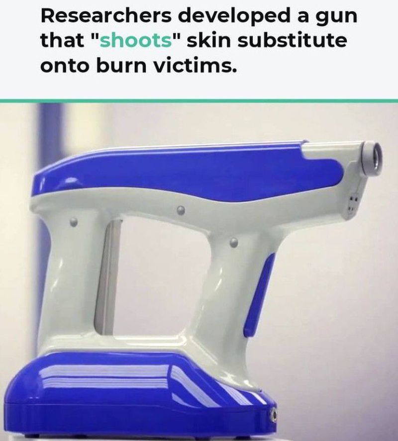 A gun that shoots skin substitutes on burn victims